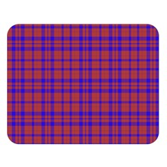 Pattern Plaid Geometric Red Blue Double Sided Flano Blanket (large)  by Simbadda