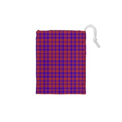 Pattern Plaid Geometric Red Blue Drawstring Pouches (xs)  by Simbadda