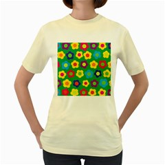 Floral Pattern Women s Yellow T Shirt by Valentinaart