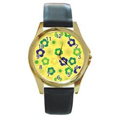 Floral Pattern Round Gold Metal Watch by Valentinaart