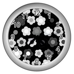 Floral Pattern Wall Clocks (silver)  by Valentinaart