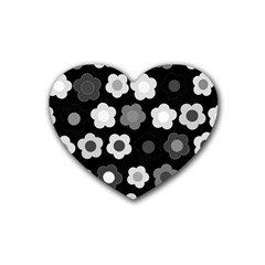 Floral Pattern Rubber Coaster (heart)  by Valentinaart