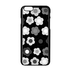 Floral Pattern Apple Iphone 6/6s Black Enamel Case by Valentinaart