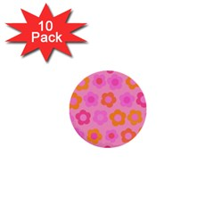 Pink Floral Pattern 1  Mini Buttons (10 Pack)  by Valentinaart