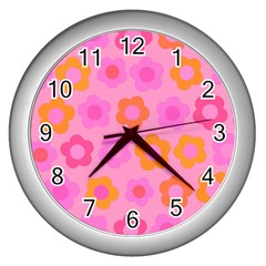 Pink Floral Pattern Wall Clocks (silver)  by Valentinaart