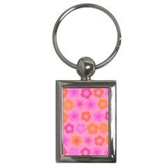 Pink Floral Pattern Key Chains (rectangle)  by Valentinaart