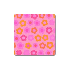 Pink Floral Pattern Square Magnet by Valentinaart