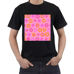 Pink Floral Pattern Men s T Shirt (black) (two Sided) by Valentinaart