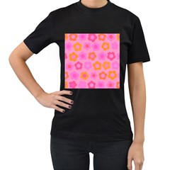 Pink Floral Pattern Women s T Shirt (black) (two Sided) by Valentinaart