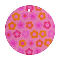 Pink Floral Pattern Round Ornament (two Sides) by Valentinaart