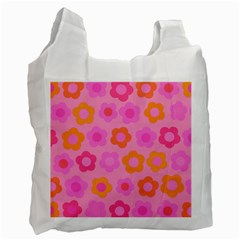 Pink Floral Pattern Recycle Bag (one Side) by Valentinaart