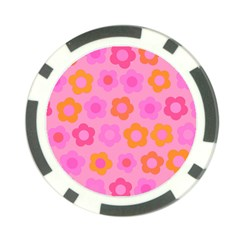 Pink Floral Pattern Poker Chip Card Guard (10 Pack) by Valentinaart