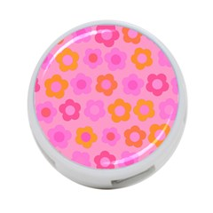 Pink Floral Pattern 4 Port Usb Hub (one Side) by Valentinaart