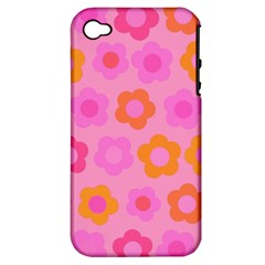 Pink Floral Pattern Apple Iphone 4/4s Hardshell Case (pc+silicone) by Valentinaart