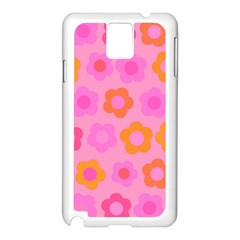 Pink Floral Pattern Samsung Galaxy Note 3 N9005 Case (white) by Valentinaart