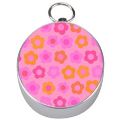 Pink Floral Pattern Silver Compasses by Valentinaart