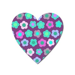 Floral Pattern Heart Magnet by Valentinaart