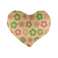 Floral Pattern Standard 16  Premium Flano Heart Shape Cushions by Valentinaart