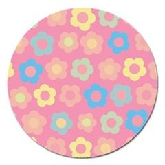 Floral Pattern Magnet 5  (round) by Valentinaart
