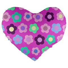 Floral Pattern Large 19  Premium Flano Heart Shape Cushions by Valentinaart