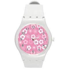 Floral Pattern Round Plastic Sport Watch (m) by Valentinaart