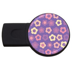 Floral Pattern Usb Flash Drive Round (4 Gb) by Valentinaart