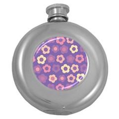 Floral Pattern Round Hip Flask (5 Oz) by Valentinaart