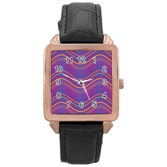 Pattern Rose Gold Leather Watch  by Valentinaart