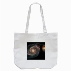 Whirlpool Galaxy And Companion Tote Bag (white) by SpaceShop
