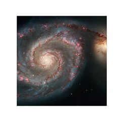 Whirlpool Galaxy And Companion Small Satin Scarf (square) by SpaceShop