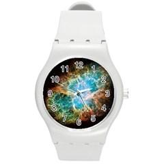 Crab Nebula Round Plastic Sport Watch (m) by SpaceShop