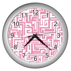 Pink Pattern Wall Clocks (silver)  by Valentinaart