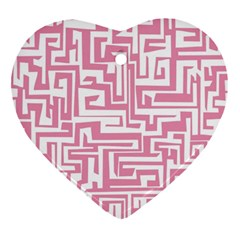 Pink Pattern Heart Ornament (two Sides) by Valentinaart