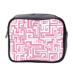 Pink Pattern Mini Toiletries Bag 2 Side by Valentinaart