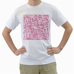 Pink Pattern Men s T Shirt (white)  by Valentinaart