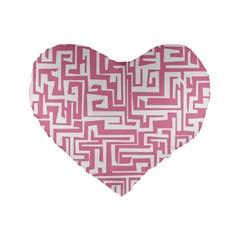 Pink Pattern Standard 16  Premium Flano Heart Shape Cushions by Valentinaart