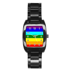 Rainbow Stainless Steel Barrel Watch by Valentinaart