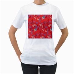 Floral Pattern Women s T Shirt (white)  by Valentinaart
