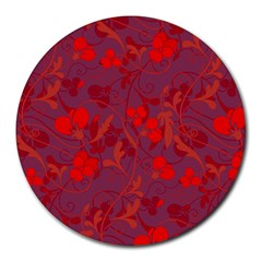 Red Floral Pattern Round Mousepads by Valentinaart