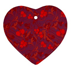 Red Floral Pattern Ornament (heart) by Valentinaart