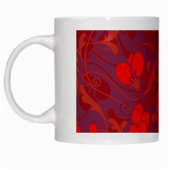 Red Floral Pattern White Mugs by Valentinaart