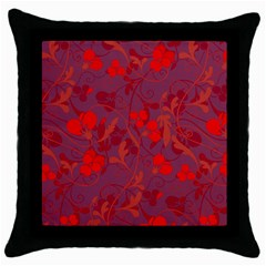 Red Floral Pattern Throw Pillow Case (black) by Valentinaart