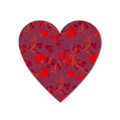 Red Floral Pattern Heart Magnet by Valentinaart