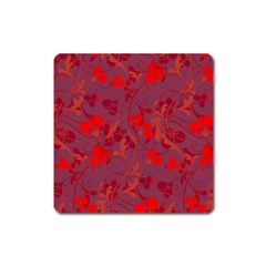 Red Floral Pattern Square Magnet by Valentinaart