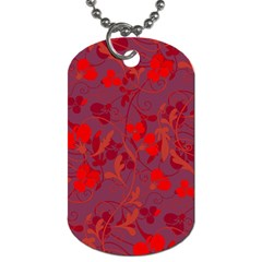 Red Floral Pattern Dog Tag (two Sides) by Valentinaart