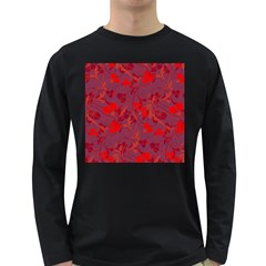 Red Floral Pattern Long Sleeve Dark T Shirts by Valentinaart