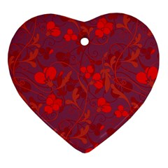 Red Floral Pattern Heart Ornament (two Sides) by Valentinaart