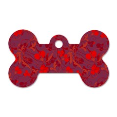 Red Floral Pattern Dog Tag Bone (two Sides) by Valentinaart