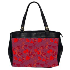 Red Floral Pattern Office Handbags (2 Sides)  by Valentinaart
