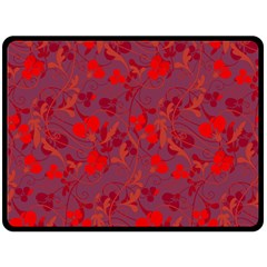 Red Floral Pattern Fleece Blanket (large)  by Valentinaart